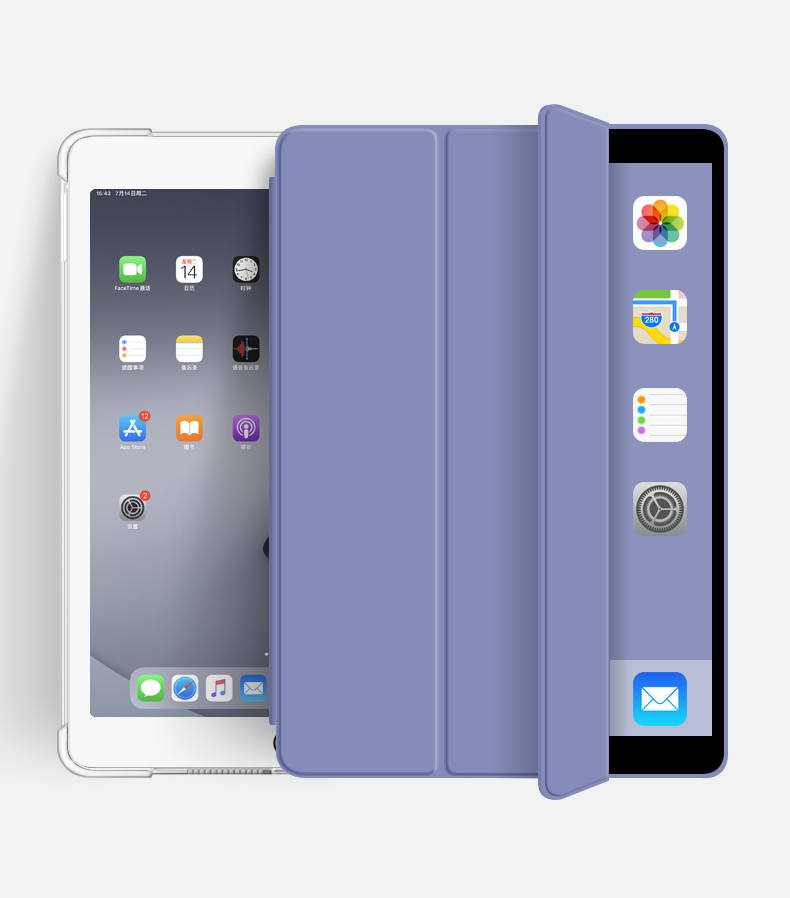 Tri-Fold Soft TPU Anto-Sleep Tablet Case for iPad 10.2 2019