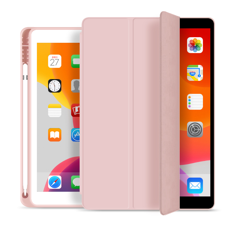 10.2 Inch Intelligent Shockproof Tri Fold Soft TPU With Pencil Holder Case For iPad 10.2 2020